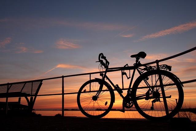 Hamburg sunset bicycle