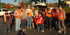 Jerry Patterson, Stephen Dieckhaus, Paul Stone, Ed Smallwood, Scott Tarkenton, Mike Wienold, Steven Nelson and Chris Morden (behind the camera) at the Kroger parking lot before heading out to clean the Club's section of Lynn Road. Stephen Dieckhaus's wife joined in as did Mike Wienold's son, Paul Stone's son and Jerry Patterson's grandson.