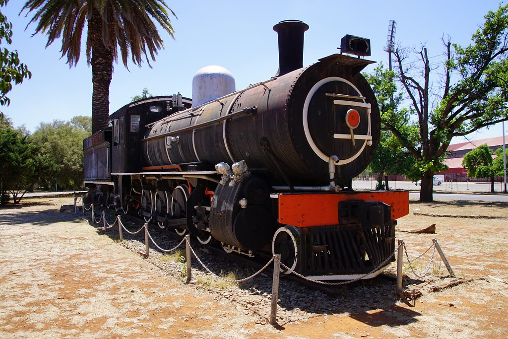 SAR Class 8A: 1097, Potchefstroom station forecourt, North West Province. 05.10.2016.