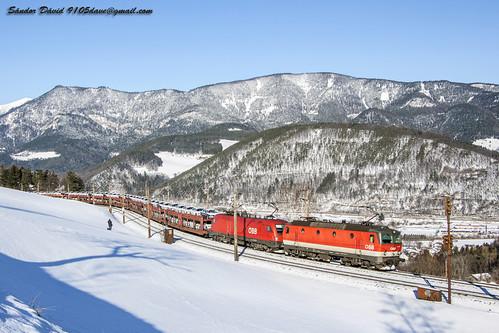 eichberg semmeringbahn semmering küb bahn öbb öbbrh1116 öbbrh1144 autozug autotransport winter colorfull