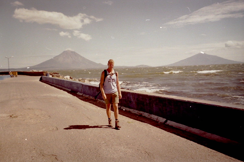 Waiting for the ferry to Ometepe from the mainland of Nicaragua crossing Lake Nicaragua, 2002.