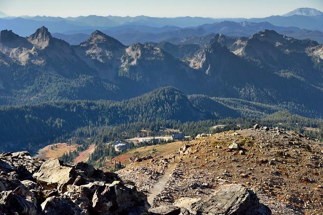 A View of Mountain Peaks Stretching to the Horizon (Mount Rainier National Park)