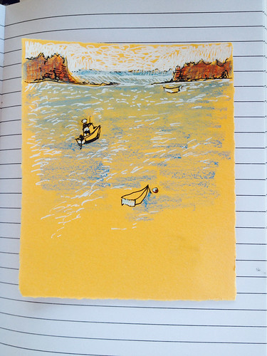 seascape ink boats maine watercolorpencils jonesport downeastmaine whitegelpen cansonmiteintespaper marciamilnerbrage