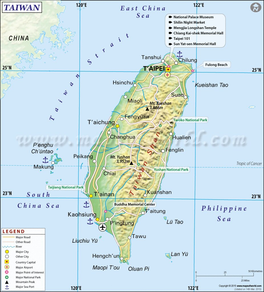 Taiwan and China Map