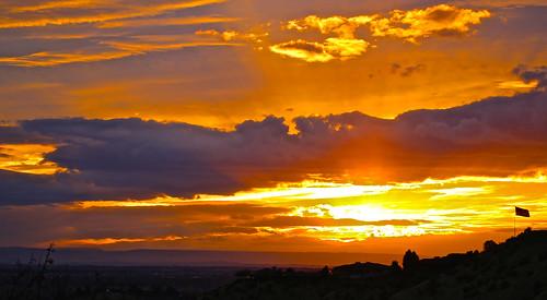 boise simplotflag idaho sunset