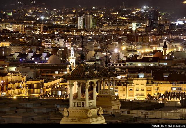 View from Museu Nacional d'Art de Catalunya @ Night, Barcelona, Spain