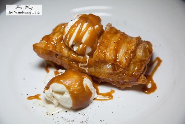 Fried  apple pie with foie gras ice cream and caramel sauce