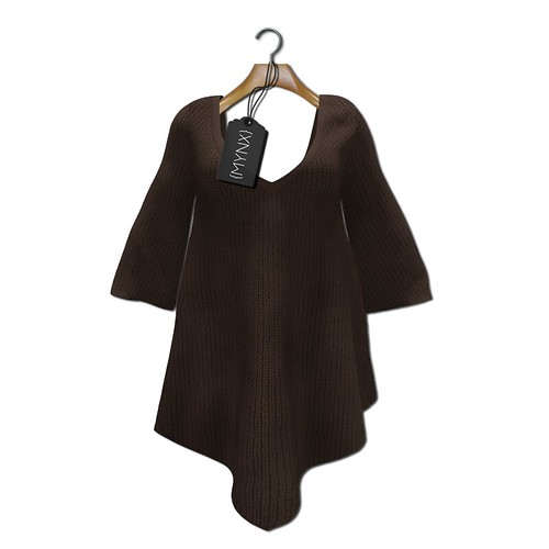 {MYNX} Sweater Poncho - Brown