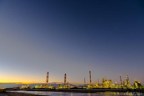 longexposure light sunset sky cloud skyline night landscape photo nikon factory outdoor d750