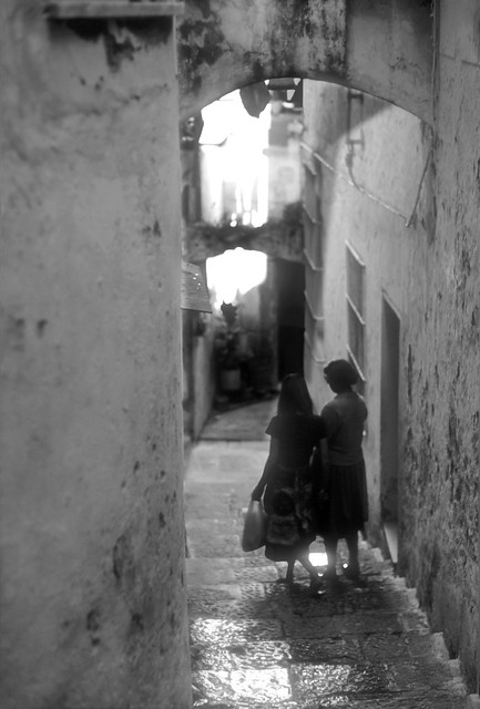 Down the Stairs to School Amalfi Italy BW