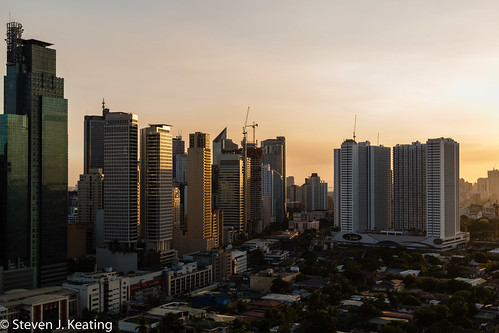 city sunset skyline architecture landscape evening philippines manila makati