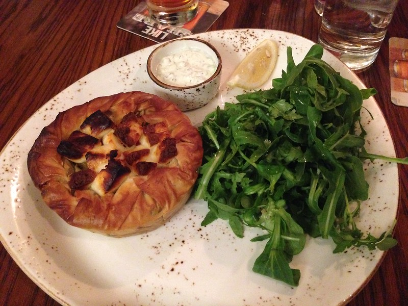 Nguyen, Dana; London, England - Good Eats, Vegetable pie and salad from The Windmill