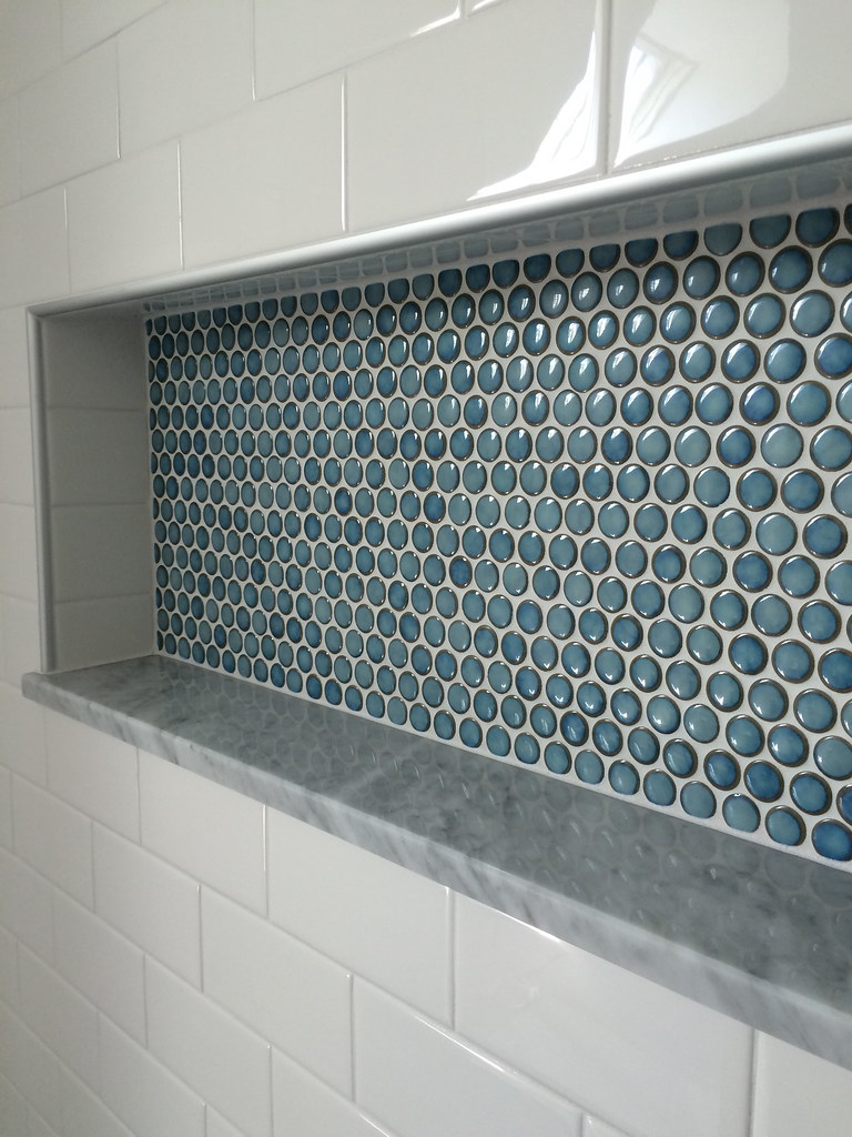 Penny Tile Shower Nice Custom Shower Detail Inset Niche