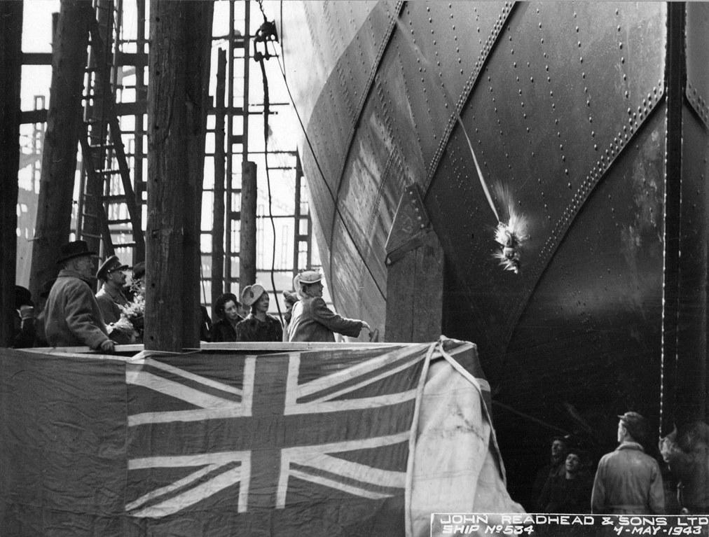 Launch of the cargo ship 'Kelmscott'