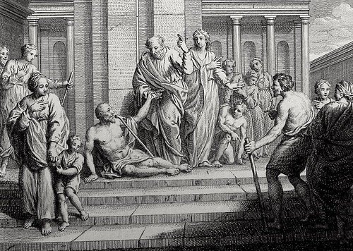 Luke in the Phillip Medhurst Collection 592 Peter and John at the Beautiful Gate Acts 3:6-8 Dutch Bible