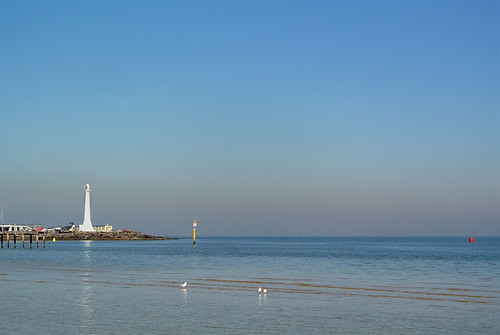seascape lighthouse australia melbourne pier seagulls buoy port phillip bay shallows sunshine water
