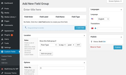 WP custom field new field group | by yaulaannl