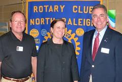 Past President Boyd Bennett, Wake County DA Lorrin Freeman and Club President Scott Tarkenton.