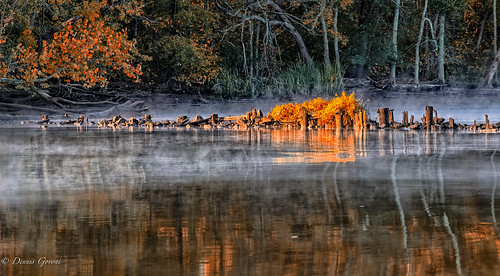virginia autumn fall fog jamesriver landscape reflection sunrise water henrico unitedstates us