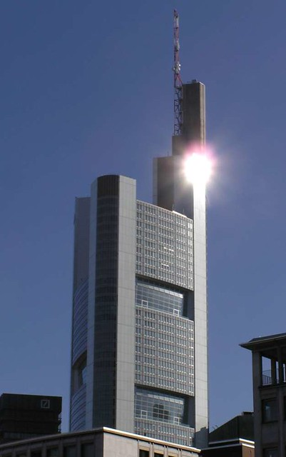 Commerzbank Tower with reflection, Frankfurt