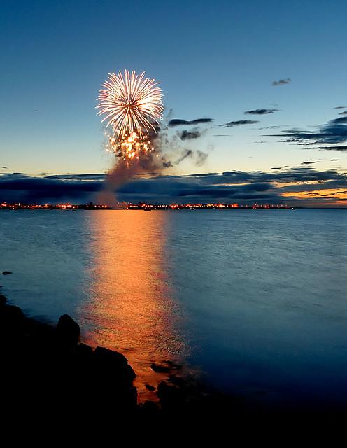 Fireworks at culture night in Reykjavík