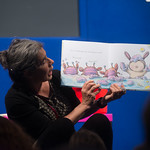 Debi Gliori | Our Illustrator in Residence Debi Gliori reads from Alfie in the Bath at the Book Festival © Alan McCredie