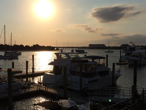 sunset sun water boat beaufort
