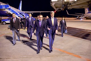 Secretary Kerry Walks With Ambassador Bass After Arriving in Turkey to Accompany President Obama at G20 Summit