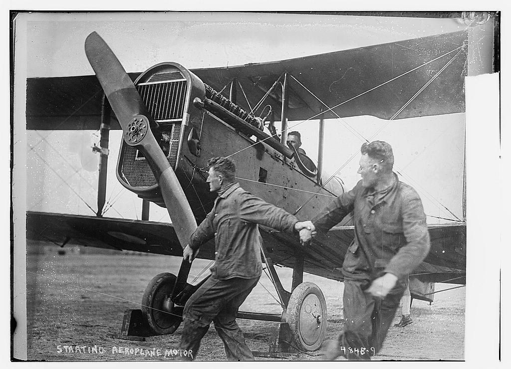 Starting aeroplane [airplane] motor (LOC)