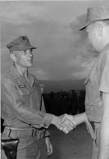 LtCol E.J. Bromars Greets LtGen Lewis Walt, 3 August 1966