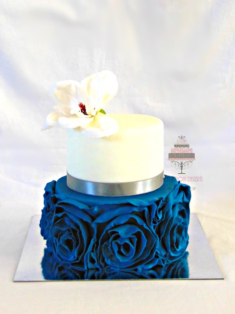 White and Teal Blue Ruffled Wedding Cake