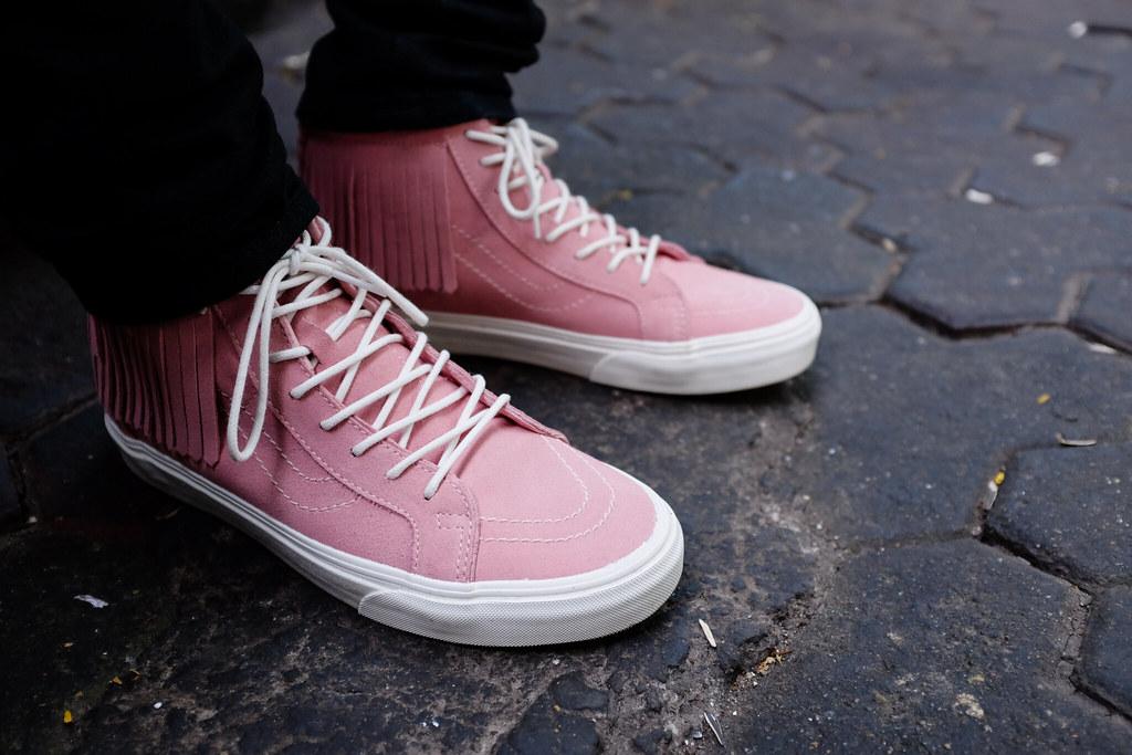 5003c68c20 ... Vans Sk8-hi Moc Pink On Feet