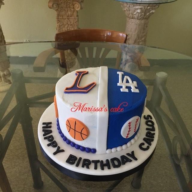 Super Sports Birthday Cake Lakers Dodgers Basketball Sports Flickr Funny Birthday Cards Online Benoljebrpdamsfinfo