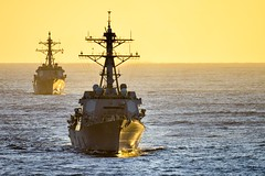 In this file photo, USS William P. Lawrence (DDG 110) and Hawaii-based USS Chung-Hoon (DDG 93) steam in formation during training off Southern California in November. (U.S. Navy/MC3 Christopher Frost)