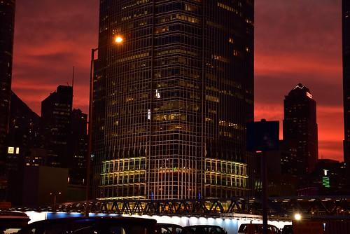 sunset red sky urban color building hongkong nikon cityscape central 香港 ifc 空 magichour 建物 afterglow 紅色 夕焼け 色 中環 日没 都市 internationalfinancecentre 赤色 centralferrypier マジックアワー 中環碼頭 都市風景 国際金融中心