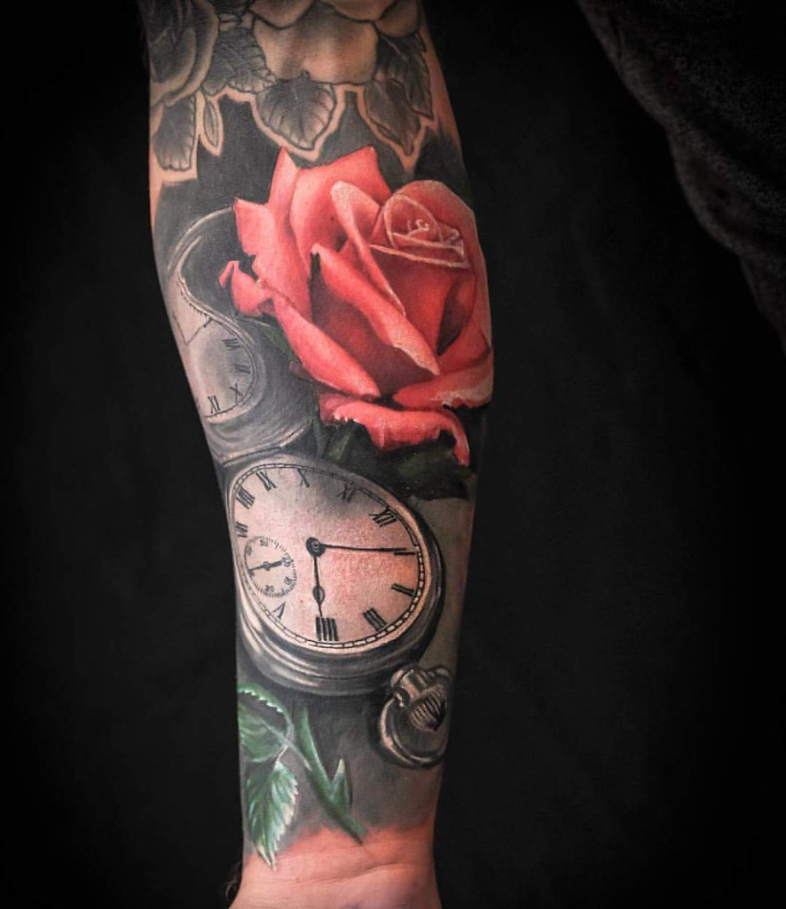 Red Rose Tattoo Pocket Watch Tattoo Sleeve In Progress By
