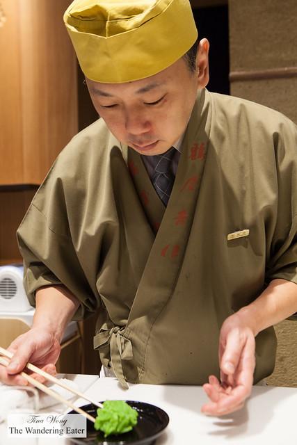 Chef plating the namagashi