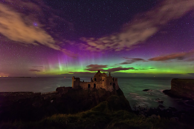 Northern Lights Aurora - Dunluce Castle - Northern Ireland