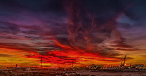 adelaide australiansubmarinecorporation buildings clouds crane landscape longexposure osborne outdoor purple pylons red southaustralia sunrise techport yellow australia