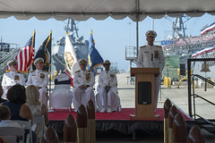 Vice Adm. William H. Hilarides, commander of Naval Sea Systems Command (NAVSEA), delivers the principal address after receiving authority over USS Cowpens (CG 63). (U.S. Navy/MC2 Zachary Bell)