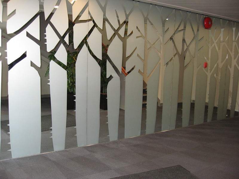 Etch trees on mirror glass or plexi