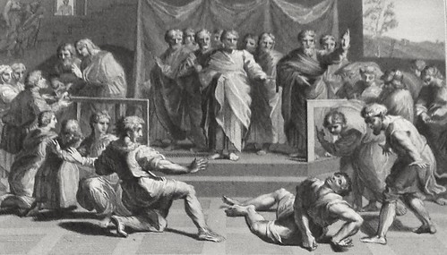 Luke in the Phillip Medhurst Collection 599 The death of Ananias Acts 5:1-6 after Raphael