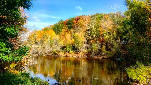 fall fallcolors leaves trees newengland connecticut river reflection colors sky seasons