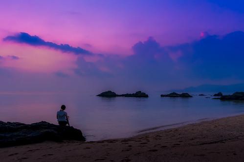 japan koukibeach nago okinawa beach dusk evening rock sea seascape seashore seaside sketch summer twilight woman 名護市 沖縄県 日本 jp