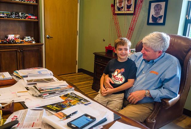 Pat Barber talks with his son James at Superior Transportation in North Charleston South Carolina.