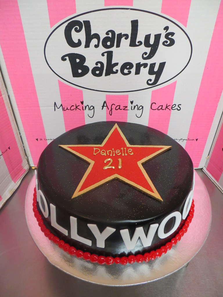 Cool Hollywood Themed 21St Birthday Cake With Hollywood Star Flickr Funny Birthday Cards Online Overcheapnameinfo