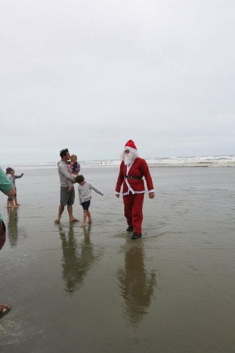 Santa arrives on New Brighton Beach