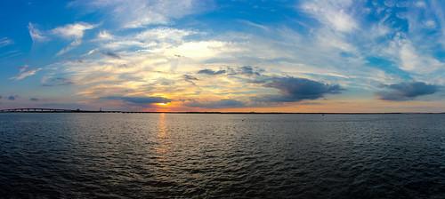 bridge sunset summer sky panorama usa clouds ciel pont oceancity somerspoint été nuages coucherdesoleil panoramique 2015 greateggharborbay