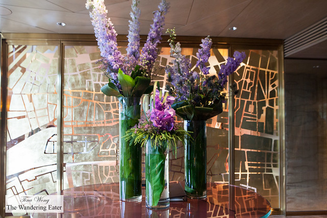 Beautiful flower arrangements in the private dining room