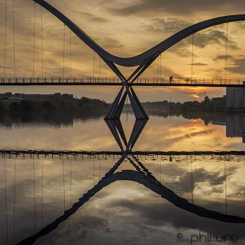 bridge clouds sunrise canon reflections river cyclist steel cycle ripples canondslr stockton tees universityofdurham rivertees canon6d infinitybridge